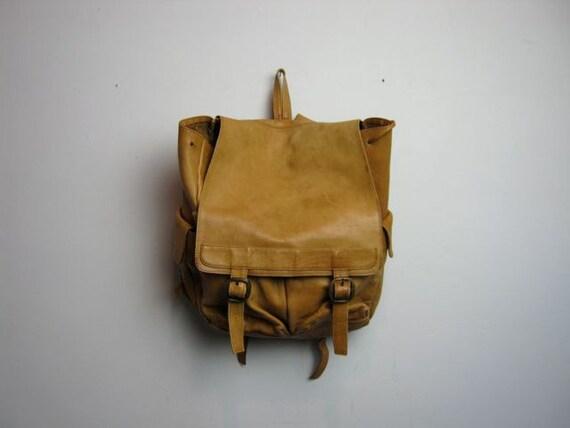 vintage rustic boho brown leather backpack rucksack