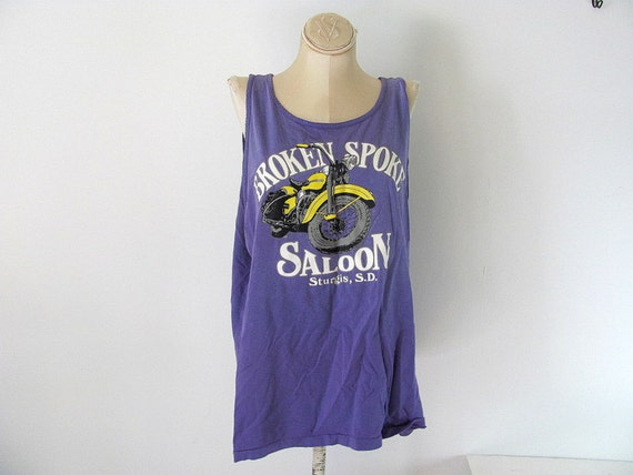 Vintage 1992 purple Sturgis oversized muscle tank top biker shirt XL