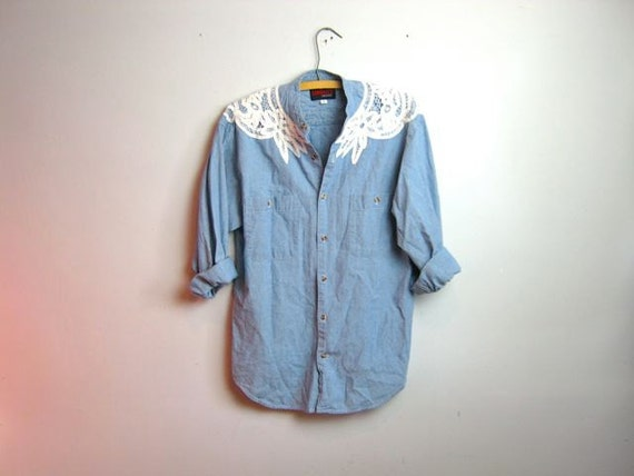 vintage 80s embroidered jean shirt