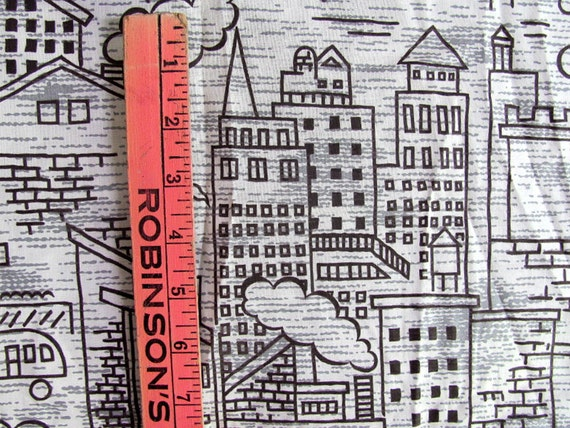 Vintage fabric with city scene graphics / dawings 2.25 yards