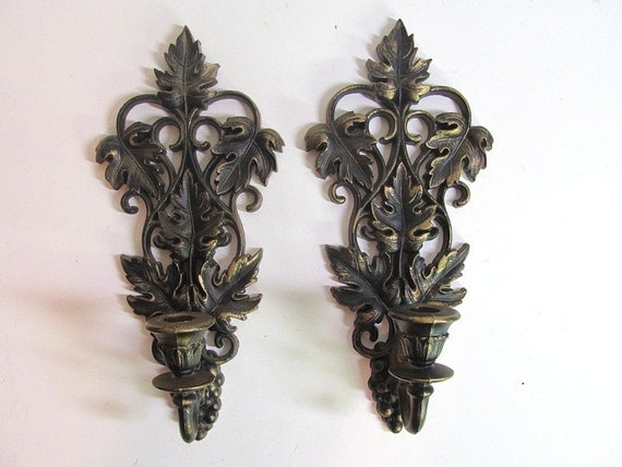 Vintage Pair of Burwood Candle Sconces with leaves and grapes Wall Hangings