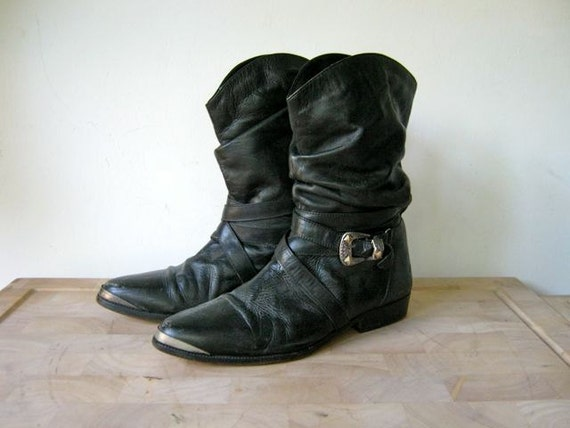 vintage 80s black leather buckled biker boots women's 9.5