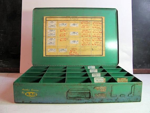 Vintage Rusty Industrial Metal Storage Box / Shabby Chic art Organizer / Painted Green