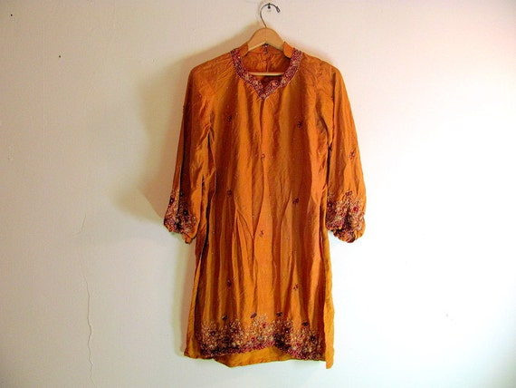 RESERVED FOR ANA Vintage burnt orange bohemian peasant tunic top dress / long shirt with beading