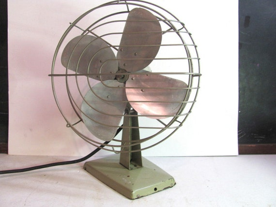 Vintage 1950s electric green metal cage fan