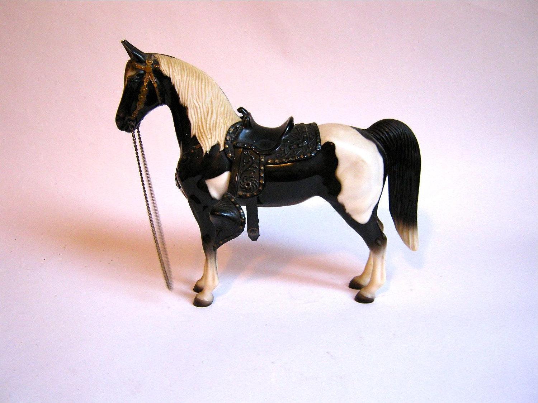 Vintage 1950s Breyer Pinto Horse Toy Western Saddle
