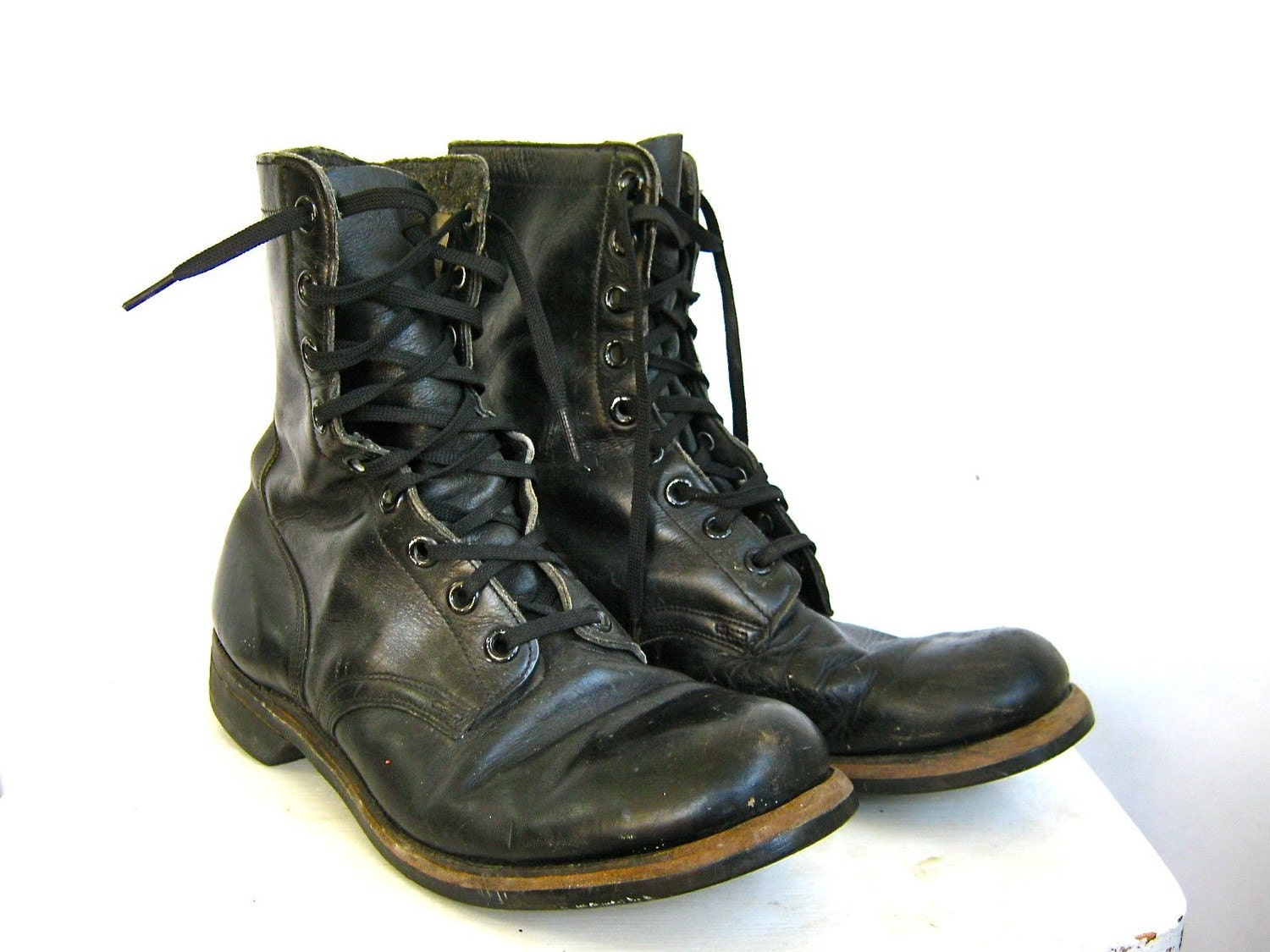 Vintage Black Leather Military Combat Boots W Biltrite Sole