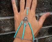 Turquoise Dream Catcher Slave Bracelet Ring in Silver