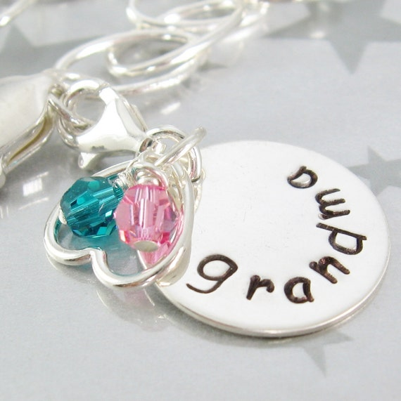 Handstamped Grandma Charm Sterling Silver Personalized Mother's Day