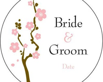 Customized Cherry Blossom Stickers Circle labels (sold by the sheet) - Choose Color and Size