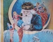 Christmas fabric panel DIY vintage Santa muslin sewing supply decoration