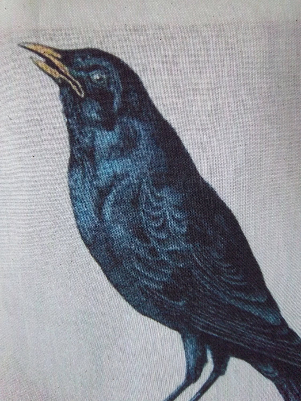 Bird Fabric Panel Fabric Panel Primitive Crow