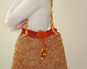 Knit bag, knitted bag, women accessory, handbag, Knitted jute handbag, ready to send.