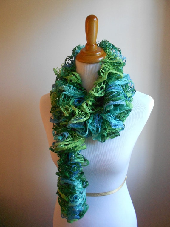 Blue and green Hand knit scarf. Ocean colors. Summer trend. Hint of shimmer. Mesh yarn.