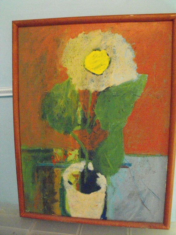 LARGE FLOWER vintage outsider ART PAINTING