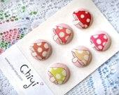 Kawaii Pink Mushroom Shank Buttons (set of 6) - LIMITED SUPPLY LEFT