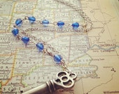 The Sandra Necklace - Skeleton Key and Vintage Beads Necklace