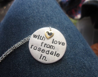 The Nellie Necklace - Custom Name or Message Hand Stamped Metal Necklace - MEDIUM