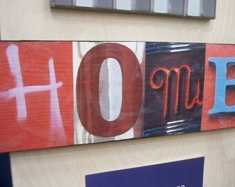 Custom-Made Picture Letter Sign of the Word Home