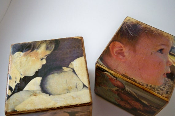 Custom-Made Distressed Picture Blocks, Baby Shower Gift