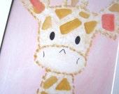 Nursery Art Print, Kids Wall Art, Nursery Decor, Harry the Giraffe, Baby Pink Decor
