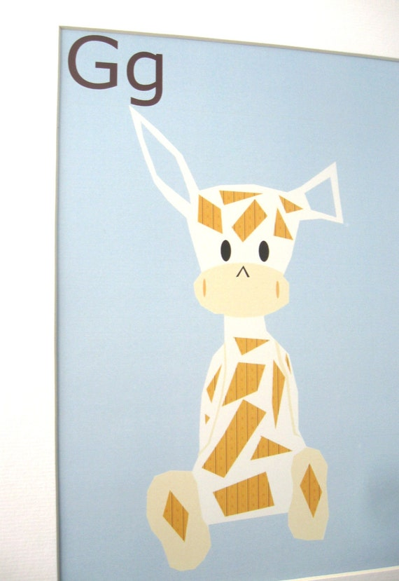 Alphabet Poster Print, Baby Room Decor, Giraffe Blue 8x10