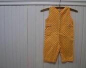 Vintage Yellow Polka Dot Baby Overalls