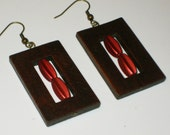 Coral and Wooden Earrings