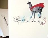 super llama - birthday card
