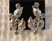 Sterling Silver Vintage Screwback Leaf and Rhinestone Earrings