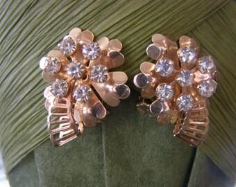 Vintage Rhinestone Gold Plated Clover Shamrock Earrings Brooch Broach