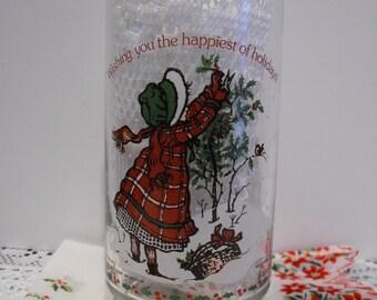 Vintage Holly Hobbie Christmas Coca Cola Drinking Glass