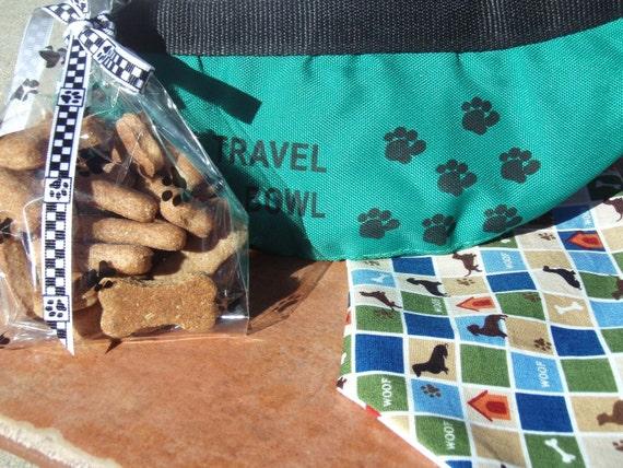 Organic Dog Treats - Posh Pup Travel Set - Travel Bowl All Natural Vegetarian Treats and Bandanna