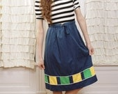 60s Sally Belted Navy Color Block Skirt S / M