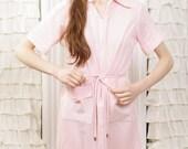 1960s Kayla Bunny Soft Pink House Dress with Tie Belt fits most sizes