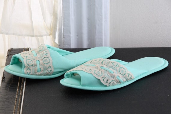 Vintage 70s Seafoam Slippers with Lace size 7.5