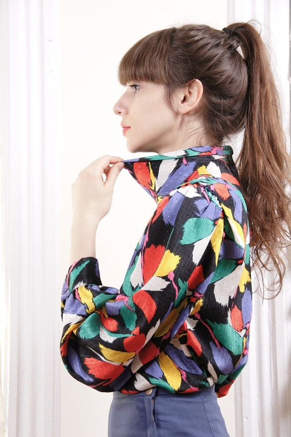 80s Rush of Florals Pop Art Blouse S / M