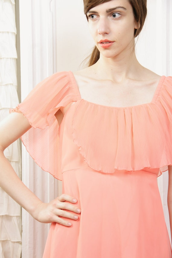 Swept Over the Coral in Chiffon Maxi Dress S Vintage 1970s