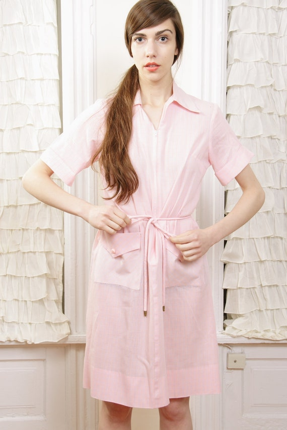1960s Kayla Bunny Soft Pink House Dress with Tie Belt fits most sizes