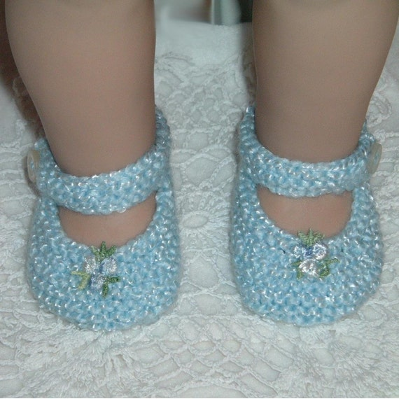 Pale Blue Mary Jane shoes fit American Girl, Bitty Baby or 18 inch doll