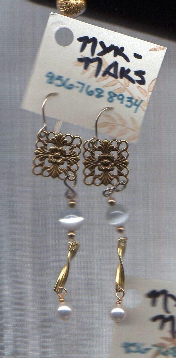 Filligree Moonstone Pearl Drop Earrings
