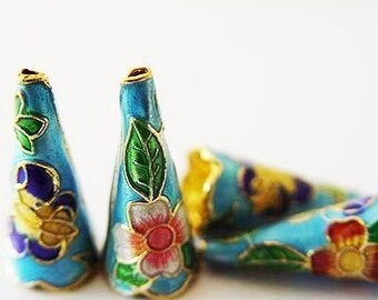 Cone shaped cloisonne beads