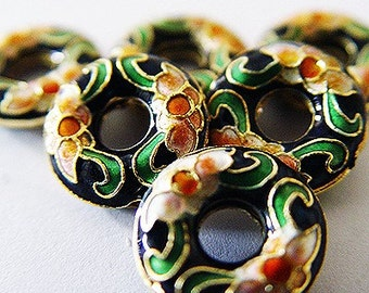 Small coin shaped cloisonne beads