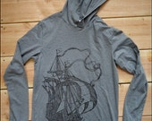 Clipper Ship mens longlseeve hooded tshirt