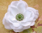 White Rose Flower with Green Vintage Inspired Rhinestone Center Hair Clip