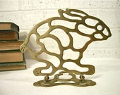 Vintage Brass Bunny Bookends