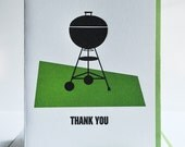 6 Letterpress BBQ Grill Thank You Cards