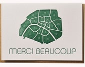 Merci Beaucoup Letterpress French Note Cards Set of 6