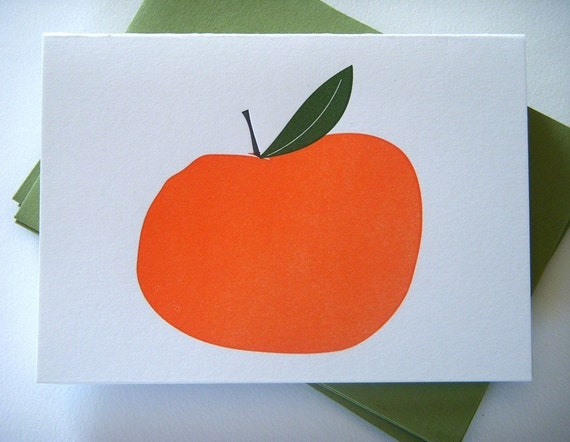 The Orange - Set of 6 Letterpress Printed Thank You Cards