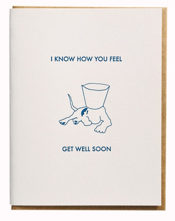 Get Well Soon - Dog and Cone Collar Letterpress Card